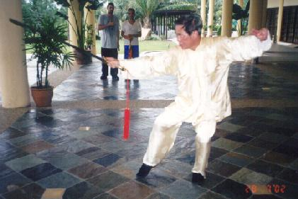 Sifu Wong demonstrating the Wudang Sword